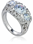 Pemberly Three Stone Round Cubic Zirconia Antique Estate Style Ring