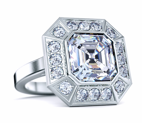 Pippa Middleton Asscher Cut Pave Halo Engagement Ring
