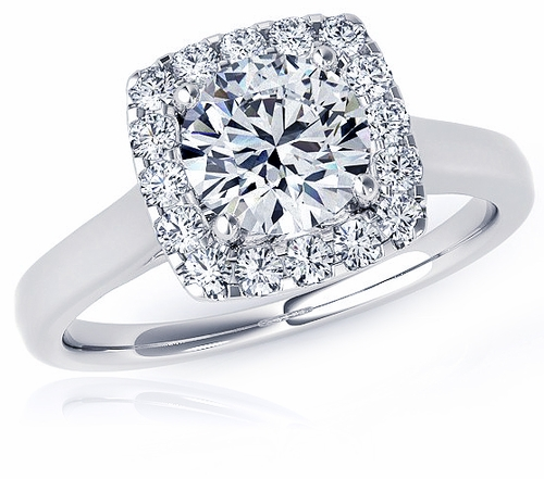 Preston 1 5 Carat Round Cubic Zirconia Halo Cathedral Solitaire Engagement Ring
