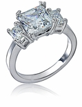 Metro 2.5 Carat Princess Cut Cubic Zirconia Emerald Cut Three Stone Engagement Ring