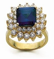 Princess Cut 2.5 Carat Man Made Sapphire Double Halo Cubic Zirconia Cluster Ring