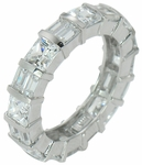 Channel Set Princess Cut Double Baguette Cubic Zirconia Eternity Band
