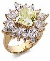 Princess Cut Square Cubic Zirconia Marquise Halo Cluster Ring