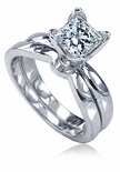 Tulip 1 Carat Princess Cut Cubic Zirconia Solitaire Wedding Bridal Set