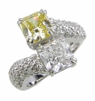 Princess Duo 1.5 Carat Each Princess Cut Two Stone Bypass Pave Solitaire Engagement Ring