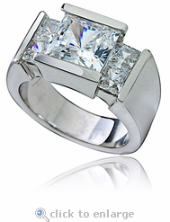 Ritz Princess Cut Cubic Zirconia Engagement Ring