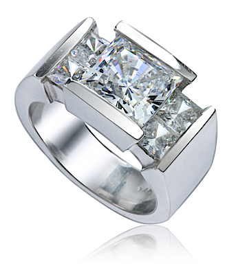 Carat Princess Cut Channel Set Cubic Zirconia Solitaire Engagement ...