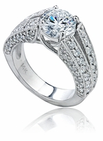 Revelle 2 Carat Round Cubic Zirconia Pave Split Shank Solitaire Engagement Ring