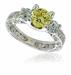 Korra Three Stone Round Cubic Zirconia Antique Style Engraved Pave Set Solitaire