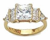 Savannah 1.5 Carat Princess Cut Square Cubic Zirconia Trillion Engagement Ring