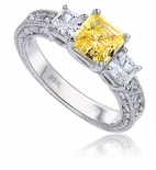 Sevilla Trellis Three Stone Princess Cut Engraved Antique Style Ring