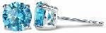 Simulated Blue Diamond 1 Carat Each Cubic Zirconia Stud Earrings
