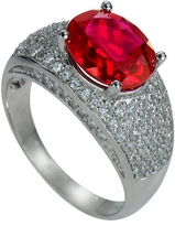 Sinclair 3.5 Carat Lab Created Ruby Oval Pave Cubic Zirconia Solitaire Engagement Ring