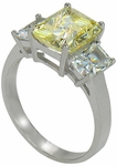 ***  Sold Out  ***  The Jen Ring Inspiration 2.5 ct. PINK or CANARY center  in LUXURIOUS PLATINUM