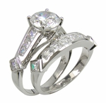 Spherion 1.5 Carat Round Cubic Zirconia Channel Set Princess Cut Wedding Bridal Set