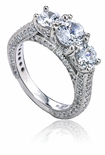 Statuette 1 Carat Center Three Stone Round Cubic Zirconia Micro Pave Anniversary Ring