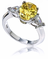 Swane 2.5 Carat Oval Cubic Zirconia Pear Three Stone Engagement Ring