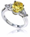 Swane Oval Cubic with Pears Zirconia Three Stone Ring