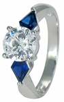 Taft 1.25 Carat Round Cubic Zirconia Simulated Man Made Sapphire Kite Cut Engagement Ring