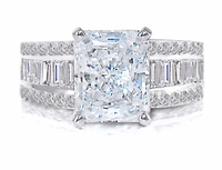 Tahleen 4 Carat Emerald Radiant Cut Cubic Zirconia Channel Set Baguette Engagement Ring