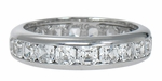 Asscher Cut .25 Carat Each Cubic Zirconia Channel Set Eternity Wedding Band