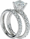 Venezia 2 Carat Round Cubic Zirconia Solitaire and Matching Band Bridal Set