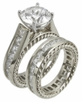 Yurma 2.5 Carat Round Cubic Zirconia Channel Set Princess Cut Cathedral Cable Design Wedding Set