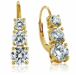 Three Stone Round Cubic Zirconia Graduated Anniversary Euro Wire Leverback Earrings