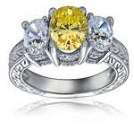 Three Stone Oval Cubic Zirconia Antique Engraved Ring