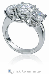 Three Stone Round Luccia Criss Cross Trellis Anniversary Ring