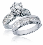 Trieste 2 Carat Round Cubic Zirconia Channel Set Princess Cut Wedding Set