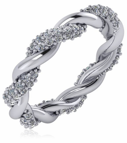 Cubic Zirconia Set Bands: Twisted Woven Pave Set Cubic Zirconia Eternity Wedding Band
