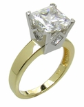 Two-Tone Princess Cut Cubic Zirconia Solitaire Engagement Ring