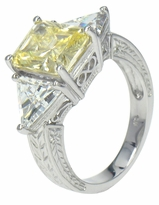Valiosa 4 Carat Emerald Radiant Cut Canary Cubic Zirconia Trillion Solitaire Engagement Ring