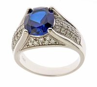 Vandome 4 Carat Oval Man Made Sapphire Gemstone Pave Cubic Zirconia Solitaire