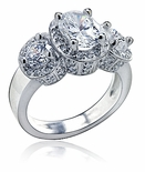 Vanessa  Oval Cubic Zirconia Micro Pave Three Stone Halo Ring