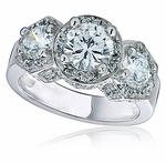 Vanessa Three Stone Round Micro Pave Halo Ring