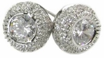 Venetia Bezel Set Round Pave Stud Earrings