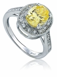 Virginia Halo Canary Oval Cubic Zirconia Ring