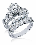 Westminister 2 Carat Round Prong Set Round and Oval Cubic Zirconia Tapered Baguette Banded Wedding Set