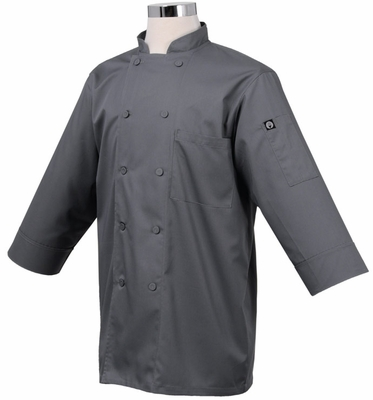 SMOKEY Gray 3/4 Sleeve Basic Light Weight Chef Jacket
