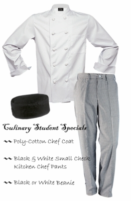 Chef Uniforms - Poly-Cotton Chef Coat, Check Pants & Beanie
