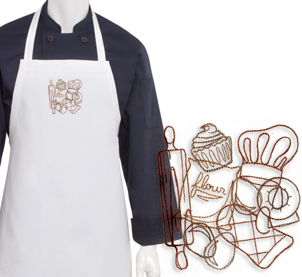 Baking Collage Embroidered Apron