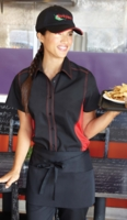 RED and BLACK Contrasting <br> Waitress Uniform Shirt