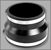 "Flexible Rubber Coupling with Hose Clamps - 2"" x 1-1/2"""