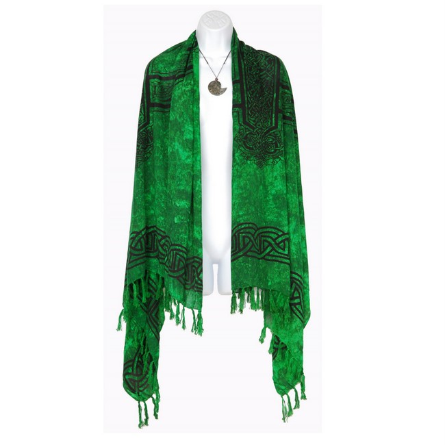 celtic cross wide neck scarf wrap or shawl in