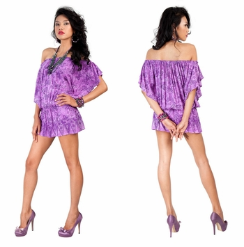 Off the Shoulder Purple Butterfly Cover Up Top Short Dress