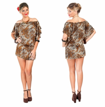 Off the Shoulder Feline Animal Print Cover Up Top Short Dress