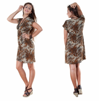 Animal Print Deep V-Neck Cover Up Tunic Short Dress