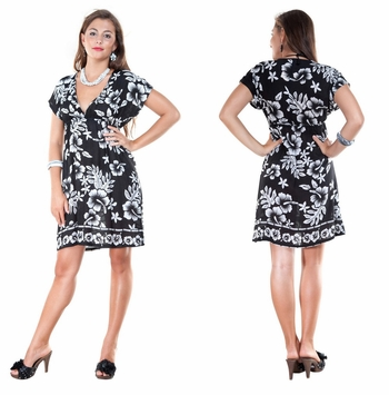 Hibiscus Black and White Cover Up Tunic Short Dress with a Deep V-Neck